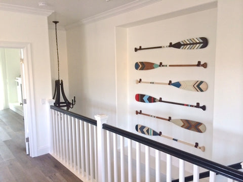 staircase canoe paddle display