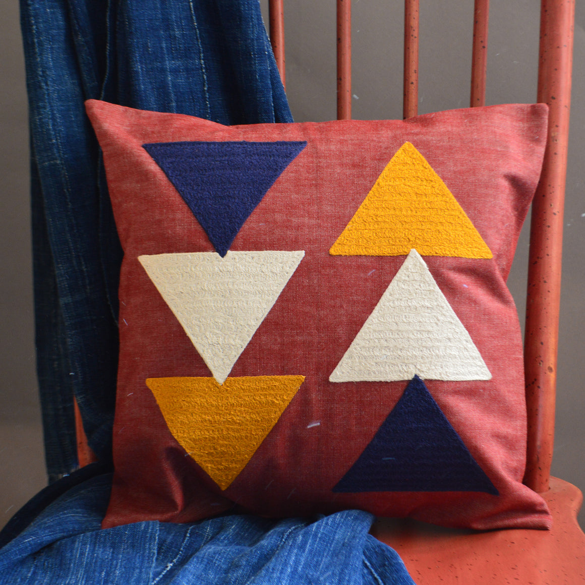 Chain Stitch Throw Pillow- Arrowheads