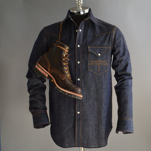The Cowboy- Men's Bootstitched Selvedge Denim Western Shirt