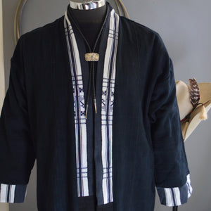 Duster- Vintage Black Mossi Cloth with Kenyan Cloth Accents