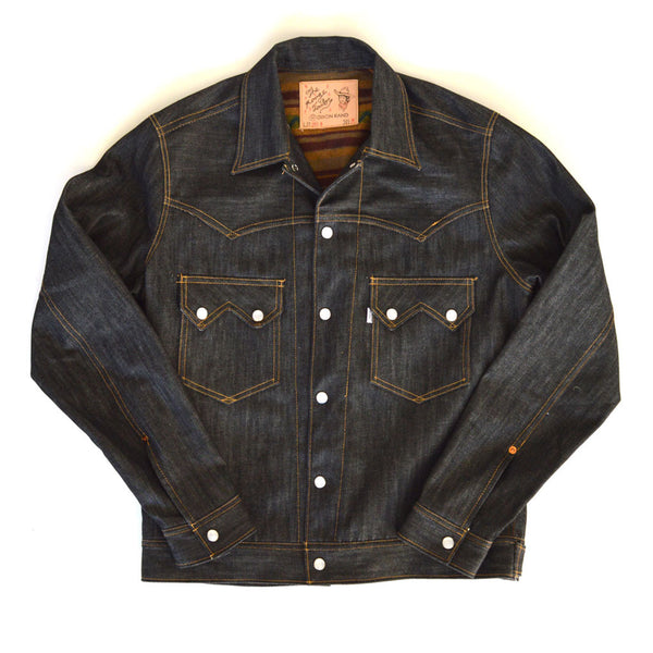 Jack Of Diamonds Black Selvage Denim Jacket With Deadstock Blanket Lining Front View