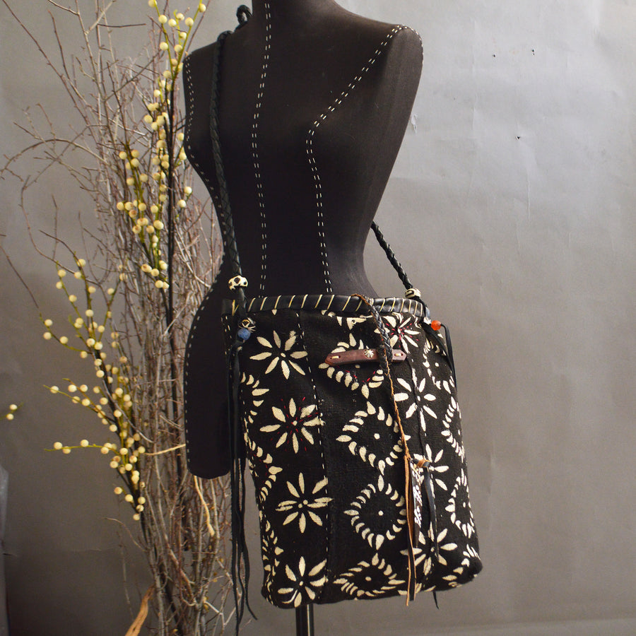 CeCe Bag- Black Floral Mudcloth