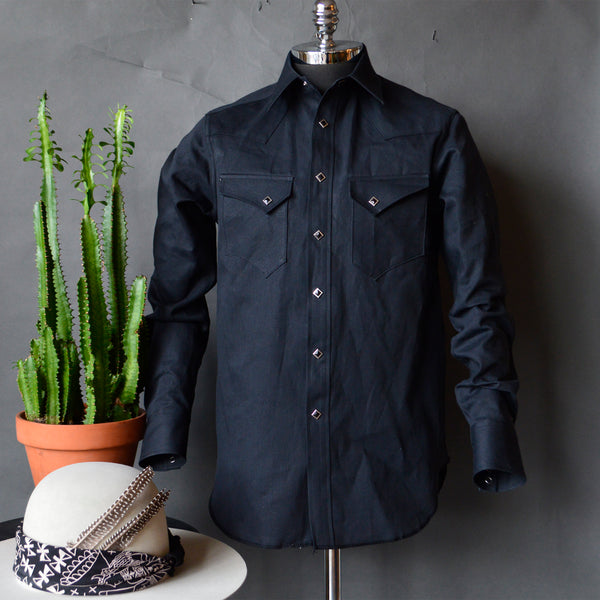 Rattlesnake Ridge- Men's Double Black Selvedge Denim Western Shirt