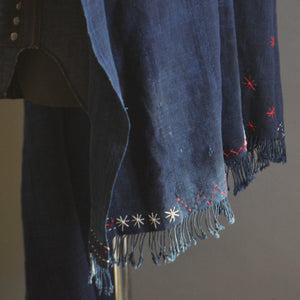 Cape Shawl- Vintage Dark 'Denim' Indigo with Boro Accents