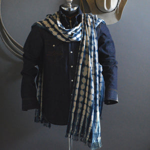 Cape Shawl- Vintage Patterned Indigo with Boro Accents