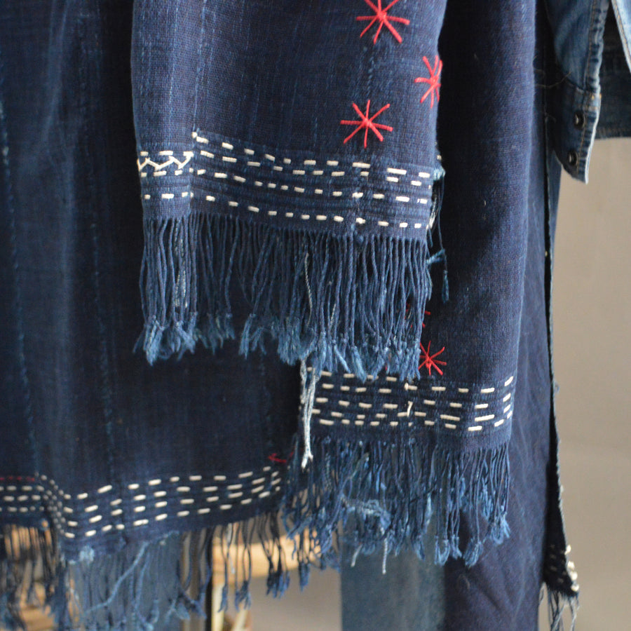 Cape Shawl- Vintage 'Dark Denim' Indigo with Boro Accents
