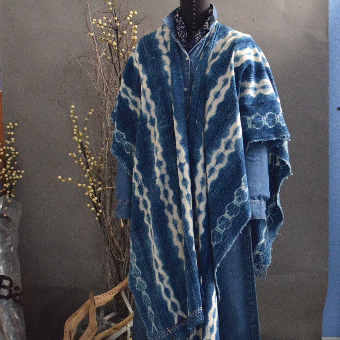 Cape Shawl- Vintage 'Scallop Stripe' Indigo with Boro Accents