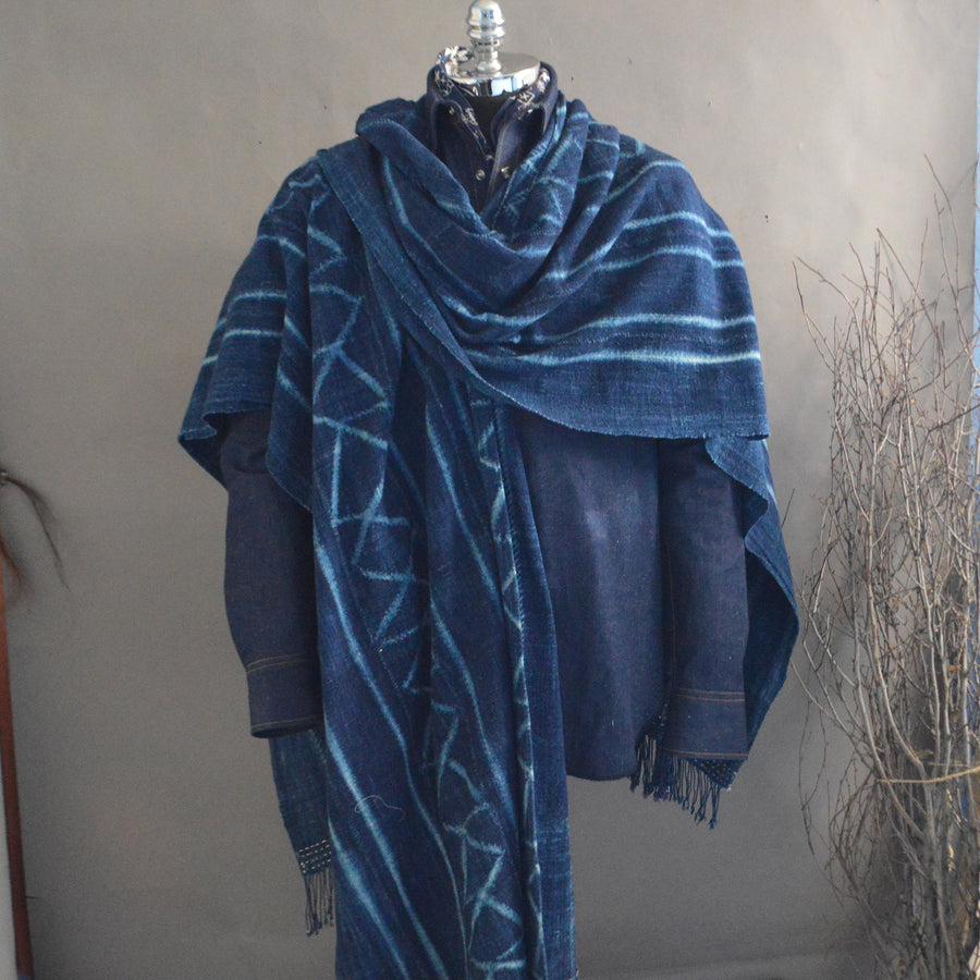 Cape Shawl- Vintage ZigZag Pattern Indigo with Boro Accents