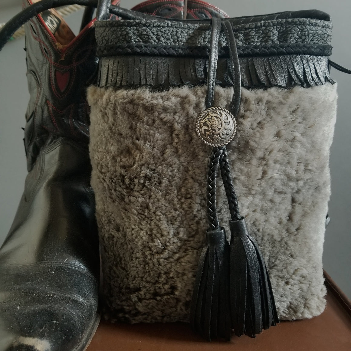 Bag- Small Black Wooly Crossbody