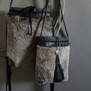 Bag- Large Cheyenne Black Shearling Crossbody