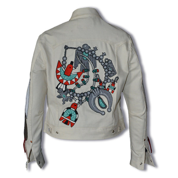 Jack of Diamonds- Women's Native American Jewelry Embroidered Denim Jacket