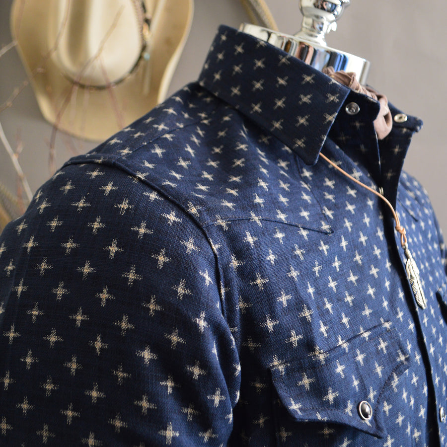 The Cowboy- Crossroads Edition Men's Indigo Dyed Western Shirt