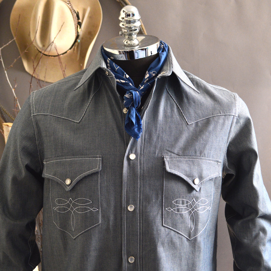 The Rambler- Men's Long Sleeve Selvedge Chambray Western Shirt