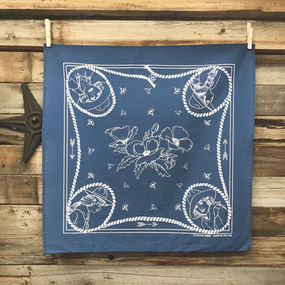 Bandana- Cowgirl Conversation Denim Blue