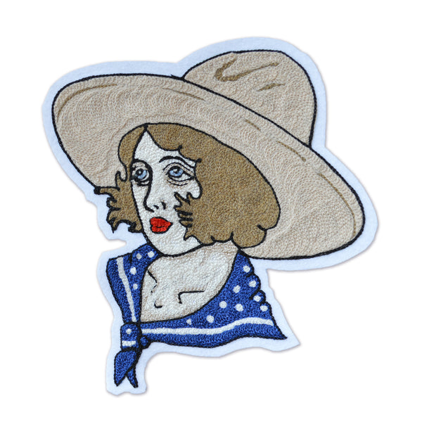 Chain Stitch Patch- Vera, Queen of the Rodeo (blue)