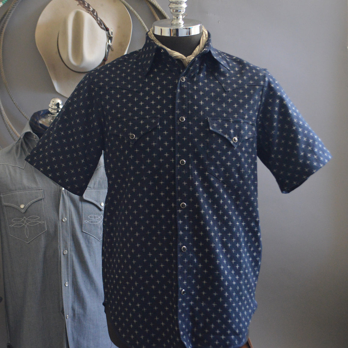 The Cowboy- Crossroads Edition Short Sleeve Indigo Dyed Western Shirt