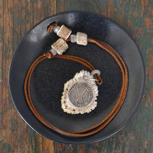 Necklace- Elk Horn White Copper Petroglyph
