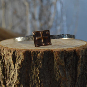 Cuff- Thin Hand Hammered Sterling Four Directions