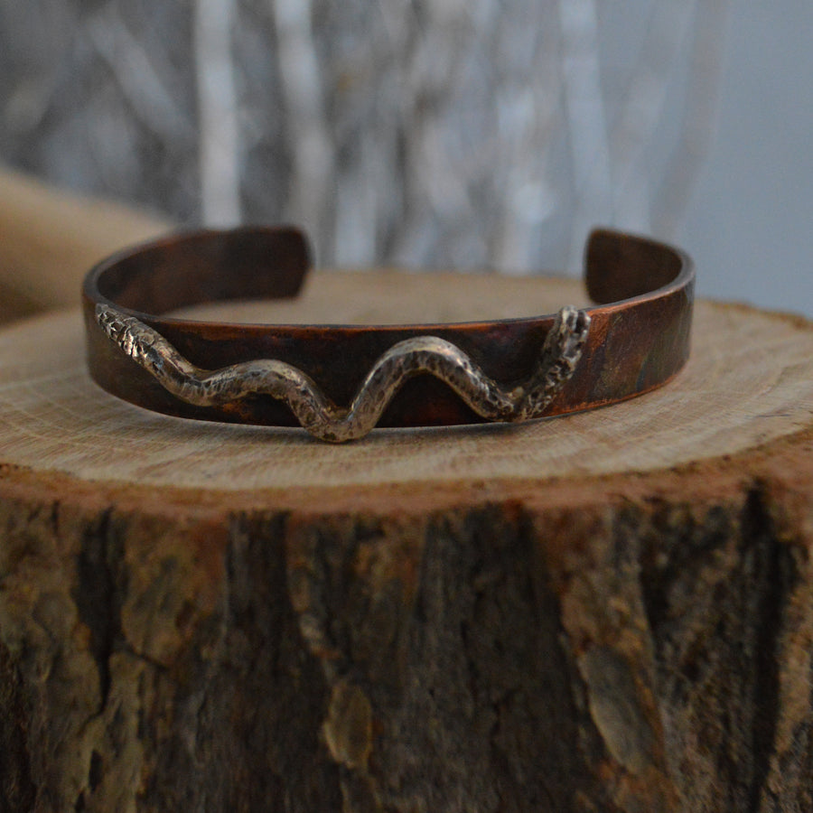 Cuff- Hand Hammered Copper Snake