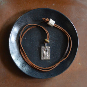 Necklace- White Copper Medallion Lariat
