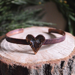Cuff- Thin Hand Hammered Artisan Copper Heart