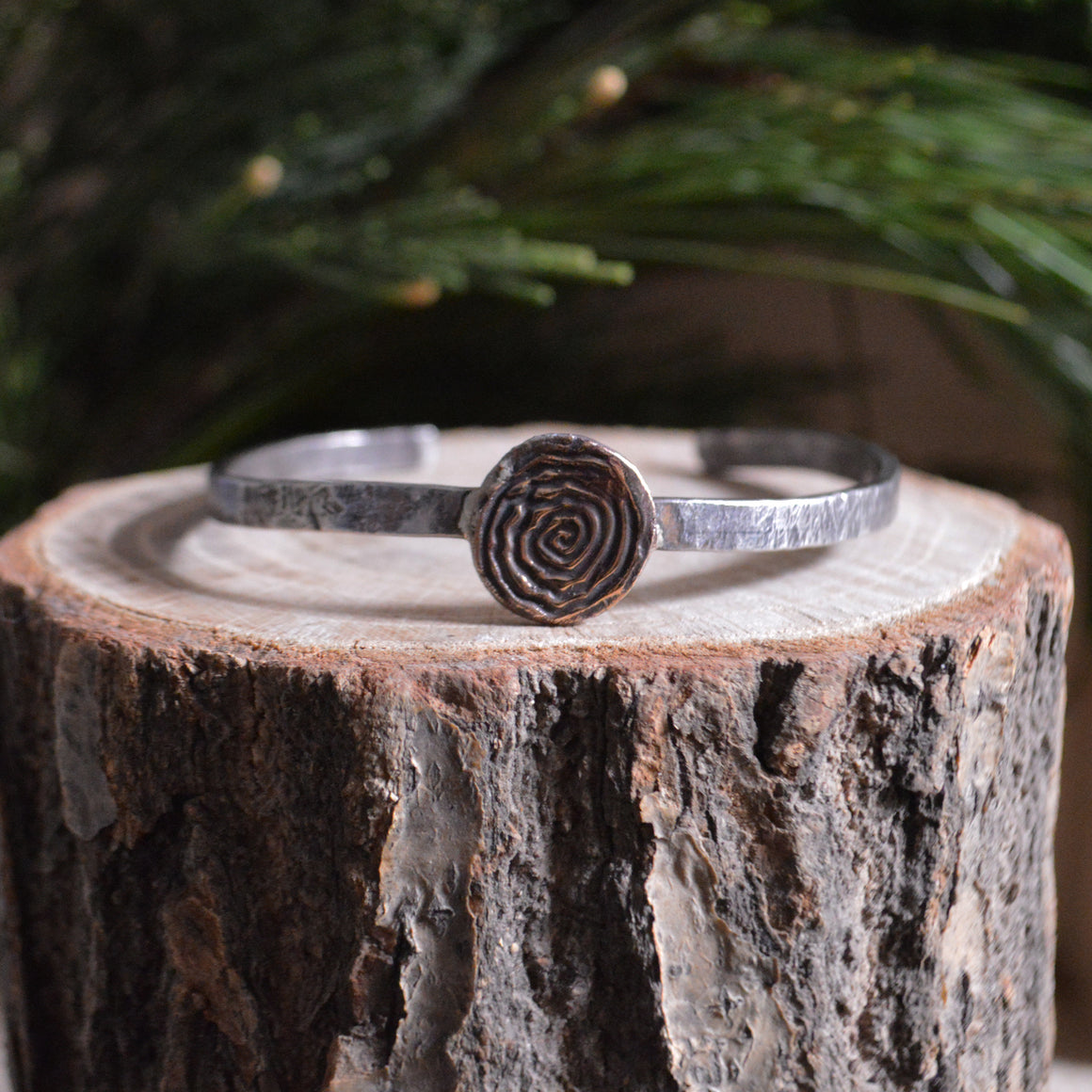 Cuff- Thin Sterling with Bronze Spiral