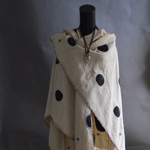 Cape Shawl- Polka Dot Mudcloth with Blanket Stitched & Boro Accents