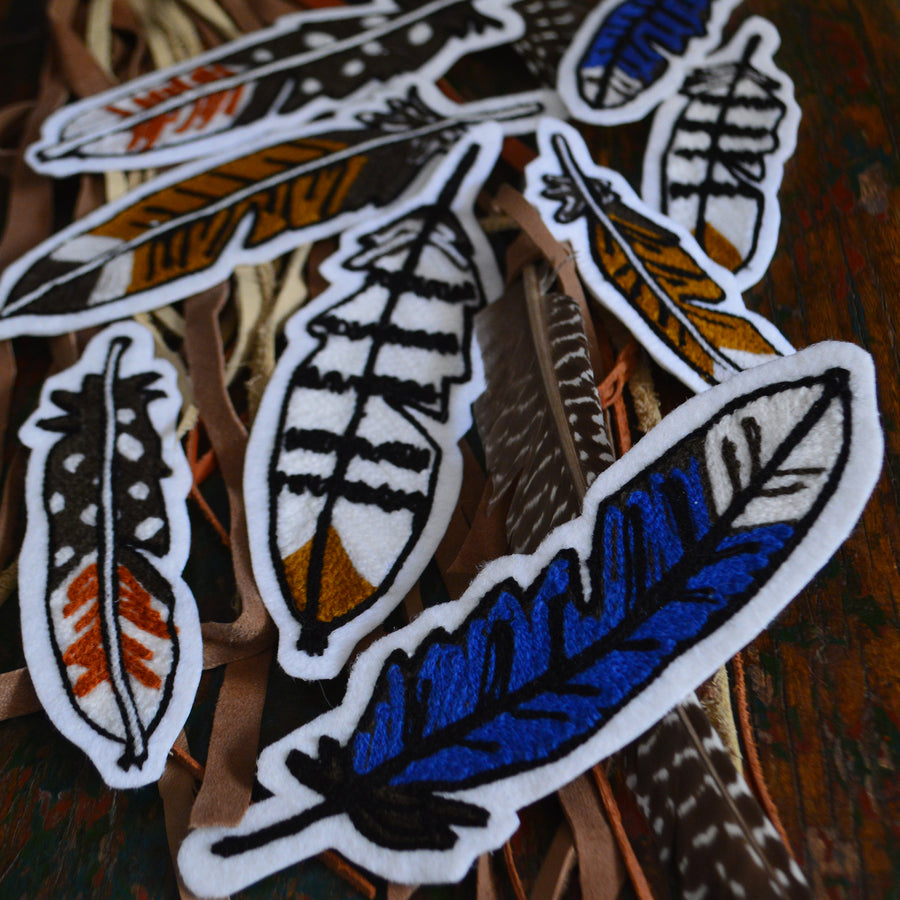 Chain Stitch Patch- Feather