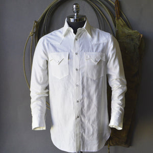 Gambler- Men's White Selvedge Chambray Shirt