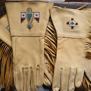 Gauntlets- Beaded Deerskin Fringed Gloves