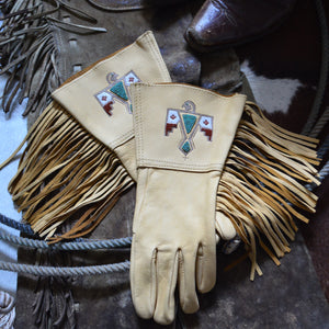 Gauntlets- DIXON RAND X Three Arrows Leather Beaded Deerskin Fringed Gloves