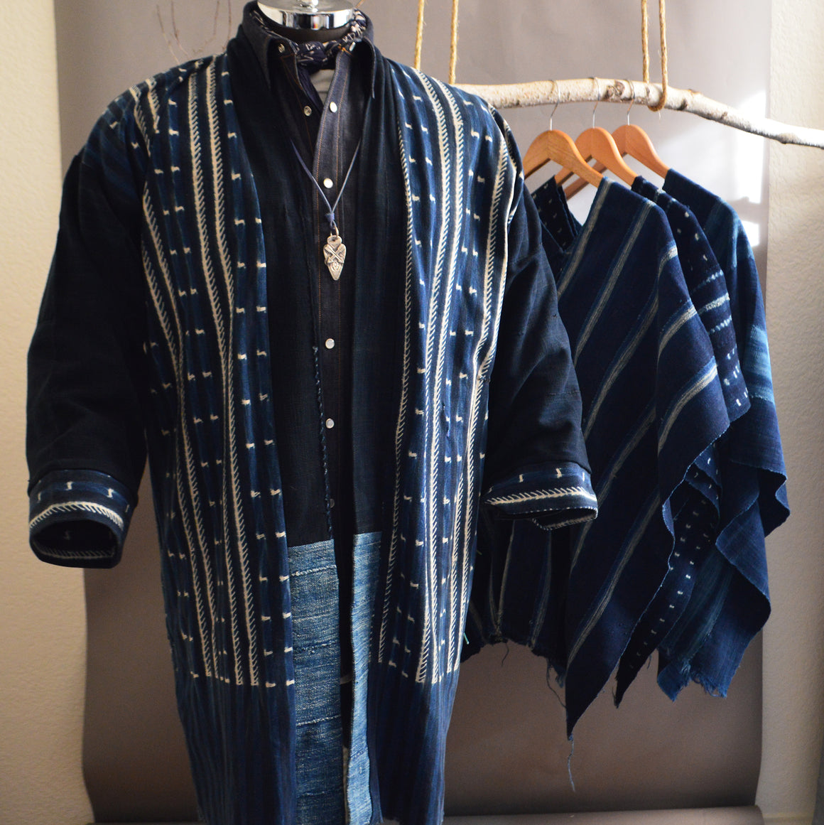 Duster- Vintage Patterned Indigo Shibori