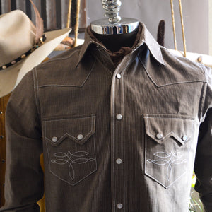 The Highwayman- Men's Whiskey River Edition Stripe Western Shirt