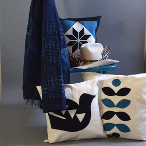 Chain Stitch Throw Pillow- Natural Denim Lonesome Dove