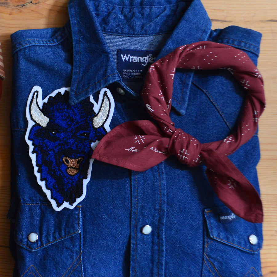 Chain Stitch Patch- Indigo Bison