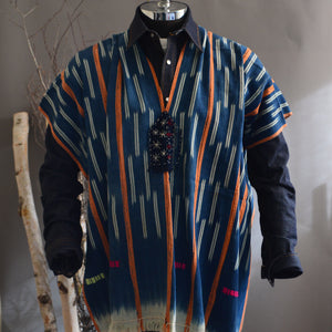 Serape- Vintage Blue/Rust African Ikat with Boro Accents