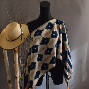 Serape- Vintage Off White African Ikat with Boro Accents