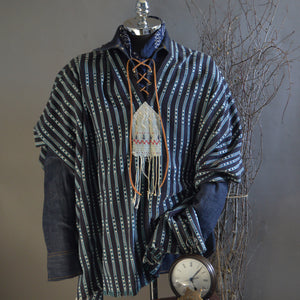 Serape- Vintage African Ikat Thin Stripe with Boro Accents