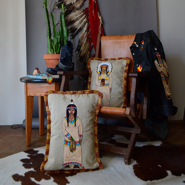 Chain Stitch Throw Pillow - Cigar Store Indian Squaw