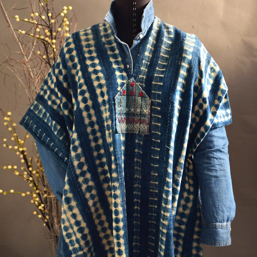 Serape- Vintage Textured Stripe Indigo with Boro Accents