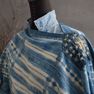 Serape- Vintage Textured Bleached Stripe Indigo with Boro Accents