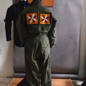 Vintage Military Flight Suit- Americana Quilt Squares