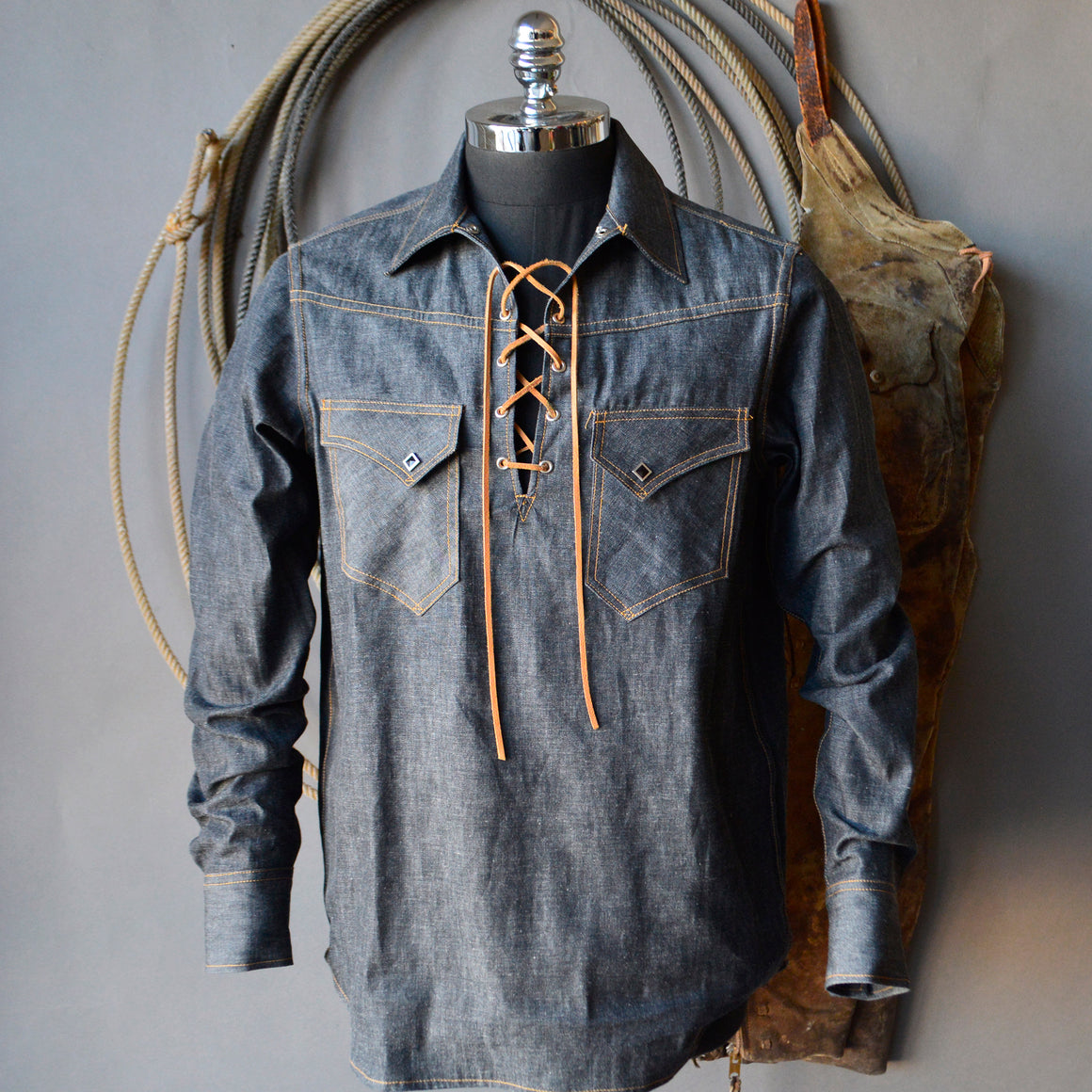 King Snake Pop-Over- Men's Black Selvedge Denim Shirt