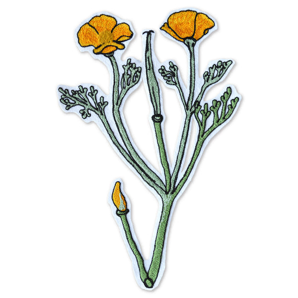 Chain Stitch Patch- Golden Poppy Flowering Plant