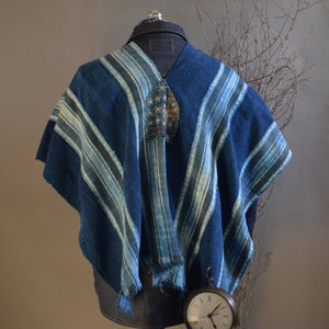 Serape- Vintage Mali Pieced Stripe Indigo with Boro Accents