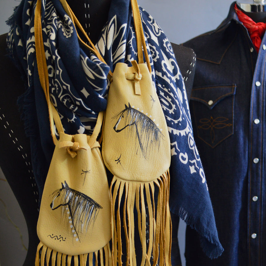 Medicine Bag- Deerskin Fringed Hand Painted Horses