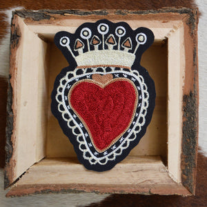 Chain Stitch Patch- Milagro Crown Heart
