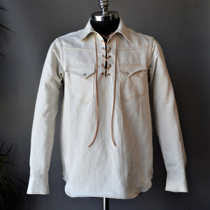 King Snake Pop-Over- Men's Natural Selvedge Denim Shirt
