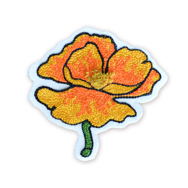Chain Stitch Patch- California Poppy Flower