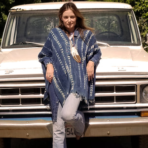 Serape- Vintage Sea Bird Tracks Indigo with Boro Accents